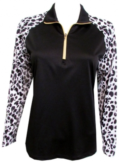 Bermuda Sands Ladies & Plus Size Long Sleeve Sammie Golf Shirts - Cheetah Print (Black)