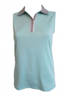 CLEARANCE Bermuda Sands Ladies Lucy Sleeveless Golf Shirts - MIST (Sea Ice/Steel Grey)