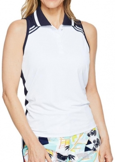 527d273e2842b CLEARANCE GGblue Ladies Cora Sleeveless Golf Polo Shirts - UNIFY  (White Navy)