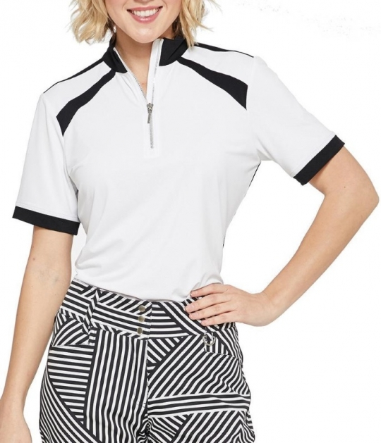 5e9c9c67 SPECIAL GGblue Ladies Ariel Short Sleeve Golf Shirts - VELOCITY  (White/Black)
