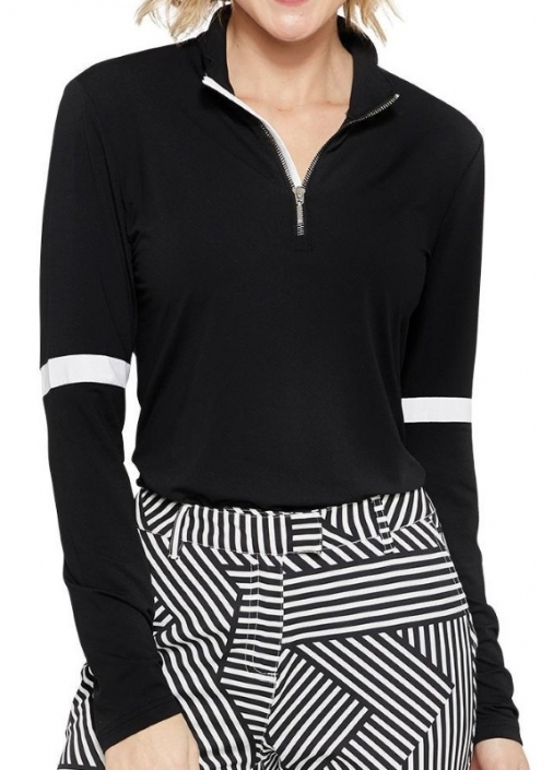 aea848a7 GGblue Ladies Emma Long Sleeve Golf Shirts - VELOCITY (Black/White)