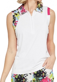 e4a1492f SPECIAL GGblue Ladies Lisa Sleeveless Golf Polo Shirts - PURSUIT  (White/Quest/Fuchsia