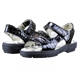 Golfstream Ladies Two Strap Tuscany Golf Sandals - Black Faux Crocodile
