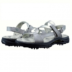 Greenleaf Sport Ladies Spiked Golf Sandals - Gray & Crystal Silver