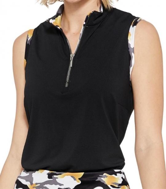 5d6984fa SPECIAL GGblue Ladies Cassie Sleeveless Golf Shirts - VELOCITY  (Black/Eclipse)
