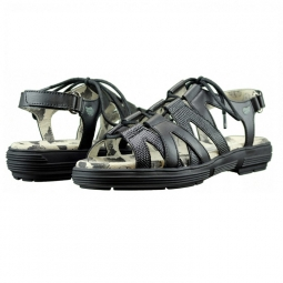 Golfstream Ladies Lace-Up Strappy Ladies Golf Sandals - Black (Faux Lizard)