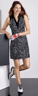 EP New York Ladies Sleeveless Golf Dresses - Culture Clash (Leopard Black & White)
