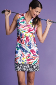 EP New York Ladies Sleeveless Golf Dresses - A Place In the Sun (White Multi)