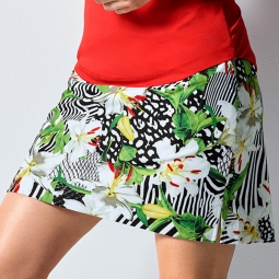 EP New York Ladies & Plus Size Animal Tiger Lily Print Golf Skorts - Culture Clash (White Multi)