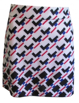 "CLEARANCE EP New York Ladies 17.5"" Pull On Golf Skorts - Parallels (Black Multi)"
