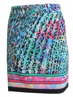"CLEARANCE EP Pro Ladies Size 19"" Pull On Golf Skorts - Paradise Found (Cool Mint Leopard)"