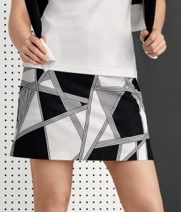 "EP Pro Ladies & Plus Size 19"" Golf Skorts - Power Play (Black & White)"