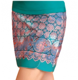 "CLEARANCE EP Pro Women's Plus Size 19"" Pull On Golf Skorts – Cassis (Aqua Crush Multi)"