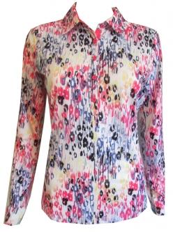 e50c9521c64 EP New York Ladies   Plus Size Long Sleeve Golf Polo Sunshirts - White Multi