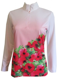 CLEARANCE EP New York Ladies & Plus Size Long Sleeve Golf Shirts - Poppy Fields (White Multi)