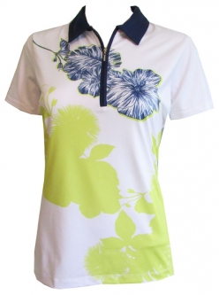 EP New York Ladies Short Sleeve Golf Shirts - Palmetto (White Multi)