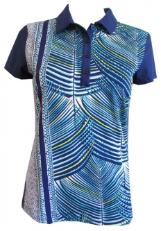 CLEARANCE EP New York Ladies & Plus Size Cap Sleeve Golf Shirts - Palmetto (Batik Blue Multi)