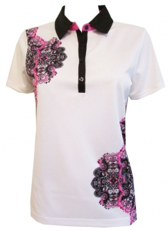 CLEARANCE EP New York Ladies & Plus Size Short Sleeve Golf Shirts - Marbella (White Multi)