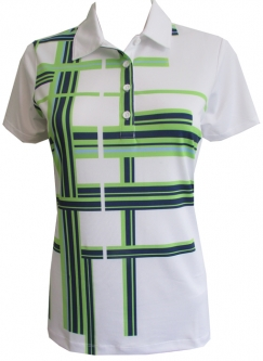 CLEARANCE EP New York Ladies Short Sleeve Golf Shirts - Good Sport (White Multi)
