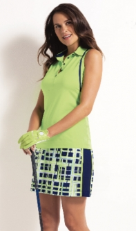EP New York Ladies & Plus Size Golf Outfits (Shirt & Skort) - Good Sport (Sonic Lime Multi)