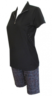 CLEARANCE EP New York Ladies & Plus Size Golf Outfits (Shirt & Shorts) - Parallels (Black & White)