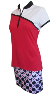 EP New York Ladies & Plus Size Golf Outfits (Shirt & Skort) - Parallels (Red, White & Black)