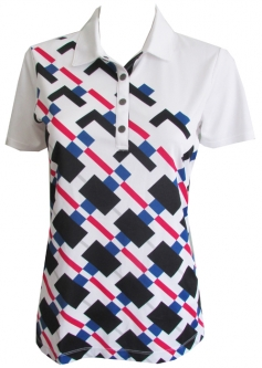 CLEARANCE EP New York Ladies & Plus Size Short Sleeve Golf Shirts - Parallels (White Multi)
