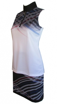 EP New York Ladies & Plus Size Golf Outfits (Shirt & Skort) - Parallels (White & Black Multi)
