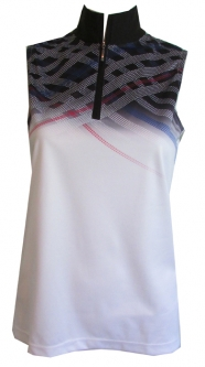 CLEARANCE EP New York Ladies & Plus Size Sleeveless Golf Shirts - Parallels (White Multi)
