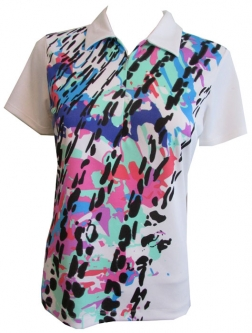 EP Pro Ladies & Plus Size Short Sleeve Golf Shirts - Paradise Found (White Multi Leopard)
