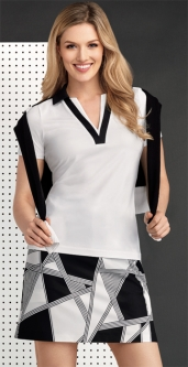 EP Pro Ladies & Plus Size Golf Outfits (Shirt & Skorts) - Power Play (Black & White)