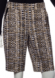 "SPECIAL EP New York Ladies 22"" Pull On Golf Shorts  - Gold Standard (Black Multi)"
