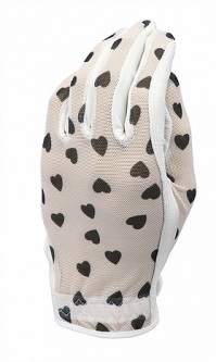 Evertan Ladies Designer Golf Gloves - Black & White Hearts (LH Only)