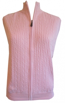 CLEARANCE Scottish Winds Ladies Windproof Lining Full Zip Sleeveless Sweater Vests - Pink