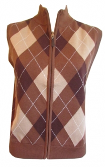 CLEARANCE Scottish Winds Ladies Windproof Lining Full Zip Sleeveless Sweaters - Argyle (Tobacco)