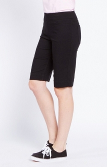 "SlimSation Ladies & Plus Size 12"" Inseam Pull On Golf Shorts - Black"