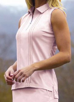 SPECIAL Greg Norman Ladies ML75 Luster Sleeveless Zip Golf Polo Shirts - PEARLESCENT (Petal Pink)