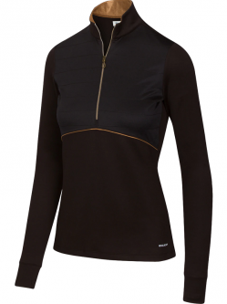 SPECIAL Greg Norman Ladies Solar XP Supreme ¼-Zip Long Sleeve Golf Shirts - IMPERIAL (Black)