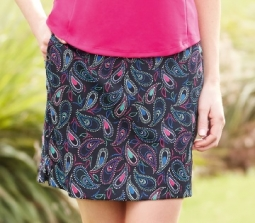 Greg Norman Ladies & Plus Size Dotted Paisley Print Knit Golf Skorts - Essentials (Black)