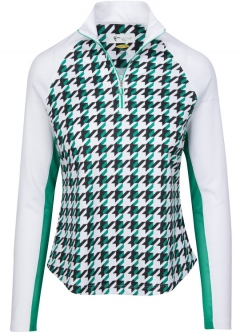 CLEARANCE Greg Norman Ladies Solar XP 1/4-Zip Houndstooth Print Golf Pullovers - Emerald