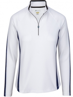 CLEARANCE Greg Norman Ladies & Plus Size L/S Giraffe Print Golf Pullovers - ANIMAL INSTINCT (White)