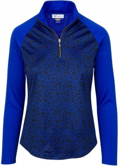 Greg Norman Ladies ML75 L/S 1/4 Zip Blocked Giraffe Print Golf Shirts - ANIMAL INSTINCTS (Cobalt)
