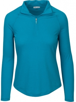 SALE Greg Norman Ladies L/S Lurex 1/4-Zip Mock Golf Shirts-BELIZE (Peacock) Fall'18