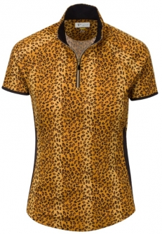 Greg Norman Ladies Wylde Short Sleeve Zip Mock Golf Shirts - UNTAMED (Amber)