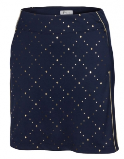 "CLEARANCE Greg Norman Ladies Tinseltown 18"" Pull On Golf Skorts - CITY OF GOLD (Navy)"
