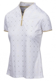 CLEARANCE Greg Norman Ladies ML75 Diamond S/S Golf Shirts - CITY OF GOLD (White)