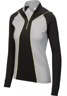 SPECIAL Greg Norman Ladies Solar XP ¼-Zip Grace Long Sleeve Golf Shirts - GRAND PRIX (Black)