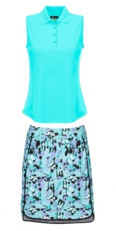 Greg Norman Ladies & Plus Size Golf Outfits (Shirt & Skorts) - BUTTERFLY EFFECT (Cool Mint)