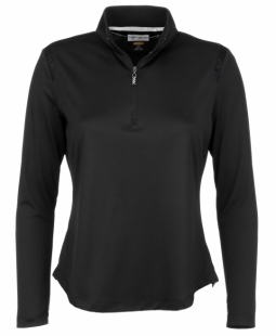 CLEARANCE Greg Norman Ladies 1/4-Zip Mesh Trim Golf Pullovers - Essentials (Black)