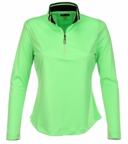 CLEARANCE Greg Norman Ladies & Plus Size 1/4-Zip Mesh Trim Golf Pullovers - Essentials (Asst Colors)